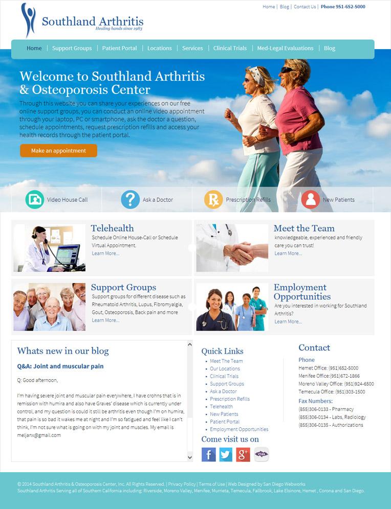 san diego web design portfolio for southlandarthritis
